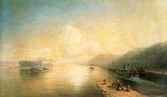 Ivan Aivazovsky. The Volga near the Zhiguli mountains