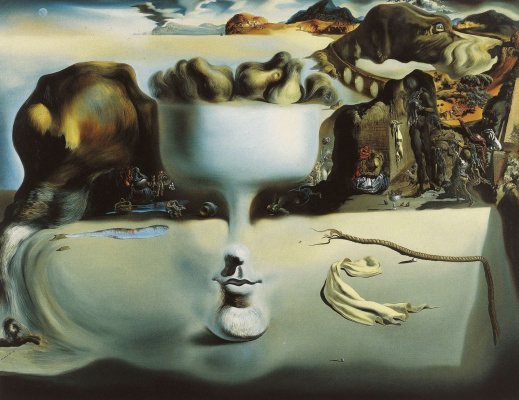 Salvador Dali. Apparition of a face and fruit dish on a beach