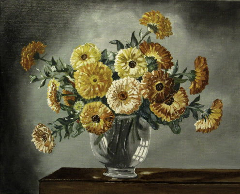 Artashes Vladimirovich Badalyan. Kennedy. Marigolds in a glass vase (multi-layer copy) - xm - 40x50