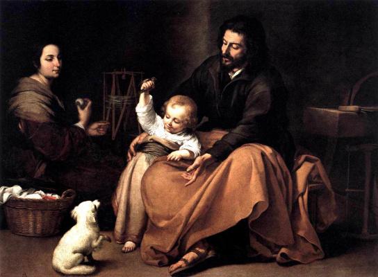 Bartolomé Esteban Murillo. The Holy family with a bird