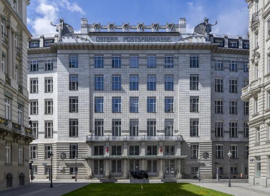 Otto Koloman Wagner. The front façade of the Austrian Postal Savings Bank (Österreichische Postsparkasse)