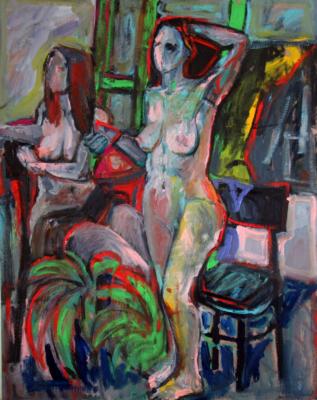 "Ekaterina Konstantinovna Krestyaninova. Two nudes. (On the back: ""Girl in a red hat."")"