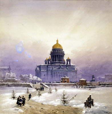Зимний пейзаж с Исаакиевским собором