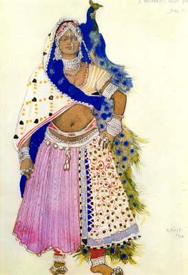 "Lev Samoilovich Bakst (Leon Bakst). Costume design La Bayadere with peacock for the ballet ""Blue God"""