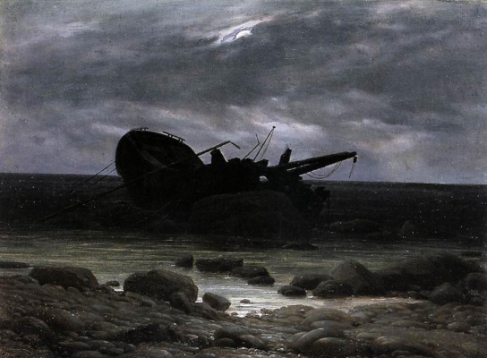 Caspar David Friedrich. Wreck in the moonlight