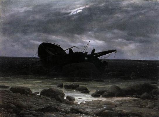 Caspar David Friedrich. Wreck in the moonlight