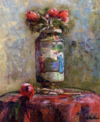 Jean Edouard Vuillard. Anemones in a Chinese vase