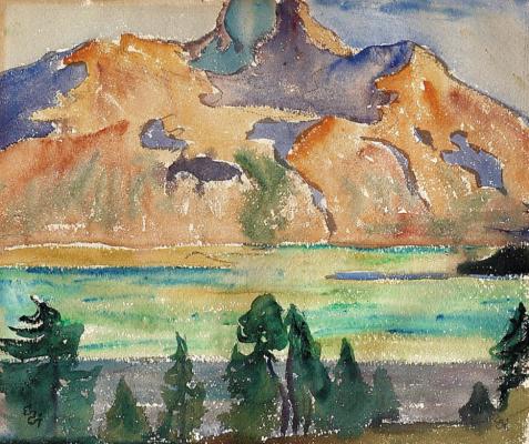 Giovanni Giacometti. Piz da La Margna. and lake Sils