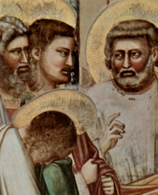 Giotto di Bondone. Expulsion of merchants from the temple. Scenes from the life of Christ. Fragment