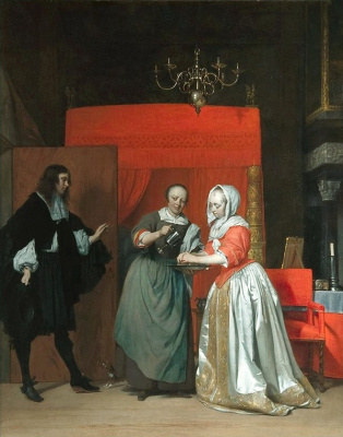 Gabrielle Metsu. Girl washing hands, and the visitor