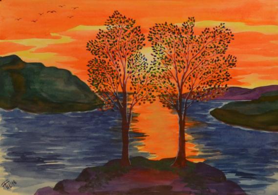 Татьяна Александровна Теребилина. Деревья на фоне солнца