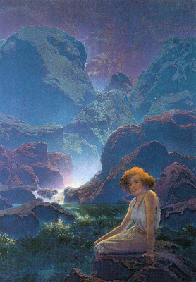 Maxfield Parrish. Waterfall in the moonlight