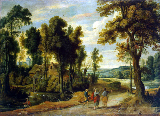 Jan van Wildens. Landscape with the image of Christ with the disciples on the road to Emmaus