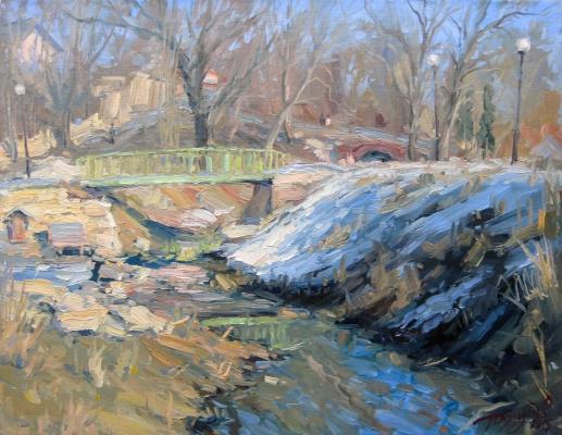 Yuri Demyanov. Landscape with a bridge