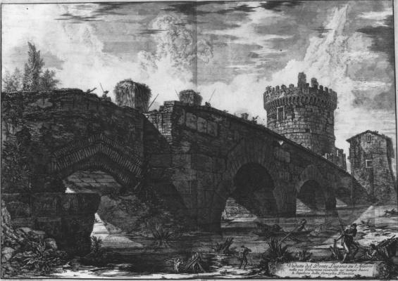 Giovanni Battista Piranesi. View of the Ponte Lugano via Aniene