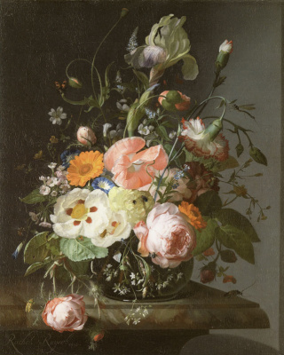 Rachelle Ruysch. Still life with flowers on a marble table