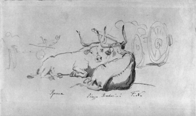 Фридрих Нерли. Буйволы на Пьяцца Барберини в Риме