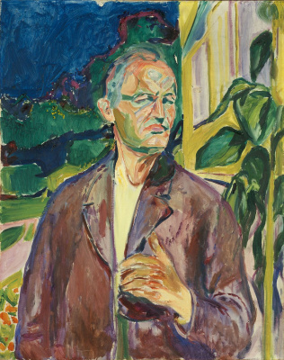 Edvard Munch. Self-portrait on the background wall of the house