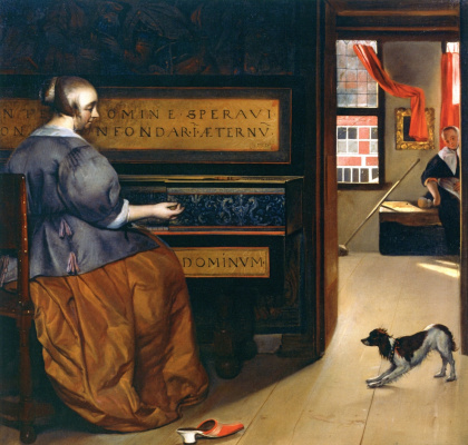Gabrielle Metsu. The woman behind virginal and dog
