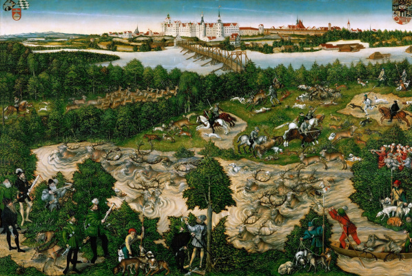 Lucas Cranach the Younger. Deer hunt of the elector Johann Friedrich. 1544