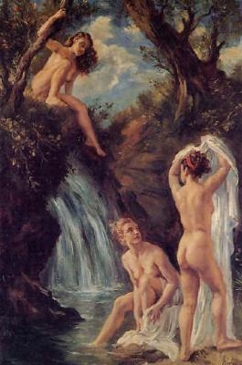 Джордж Оуэн Винн Апперлей. Обнаженные девушки у водопада