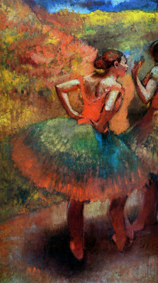 Edgar Degas. Two dancers in green skirts