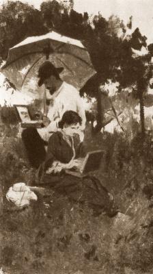 Alexey Stepanovich Stepanov. I. Levitan and S. P. Kuvshinnikova on sketches