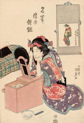 "Utagawa Kunisada. Picture Okumura Masanobu. A series of ""Famous artists directions Ukiyo-e"""
