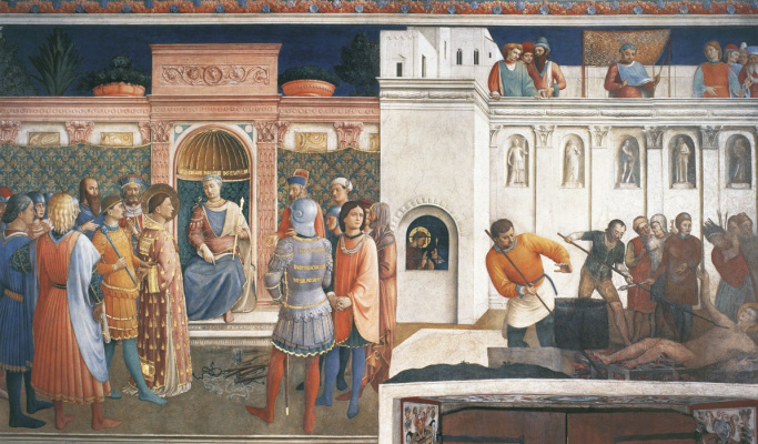 Fra Beato Angelico. Condemnation of St. Lawrence by the Emperor Valerian. The Martyrdom of St. Lawrence. 1447-1449