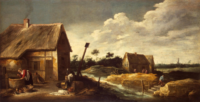 David Teniers the Younger. Landscape with a maid at the well