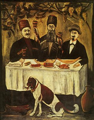 Niko Pirosmani (Pirosmanashvili). The feast in the grape pergola