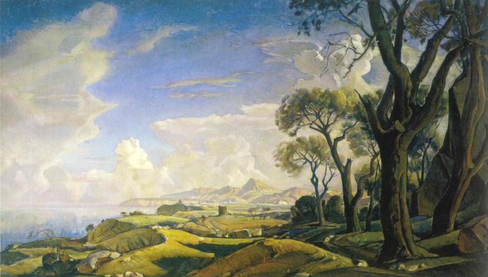 Константин Федорович Богаевский. Пейзаж с деревьями