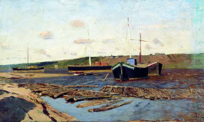 Isaac Levitan. Volga. Barges
