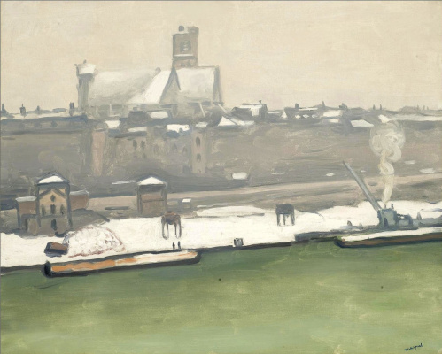 Albert Marquet. Quay. town hall and Church of St-Germain under the snow