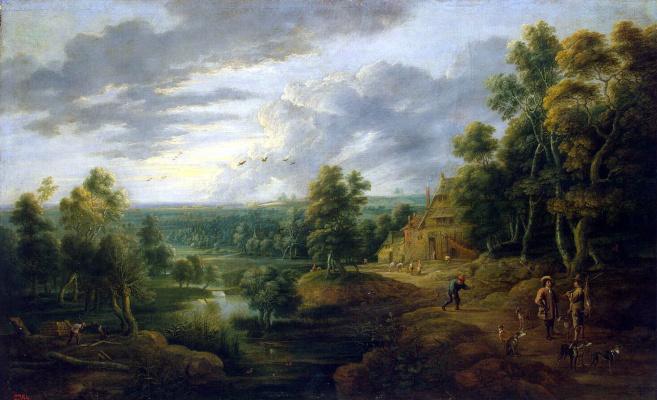Лукас ван Юден. Пейзаж с охотниками