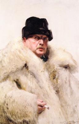 Anders Zorn. Self-portrait in a wolf fur coat