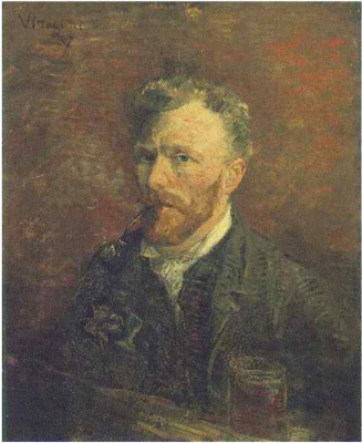 Vincent van Gogh. Self-portrait with pipe and glass