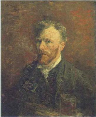 Винсент Ван Гог. Автопортрет с трубкой и стаканом