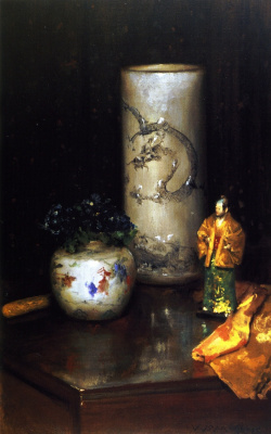 William Merritt Chase. Still life with violets and a Chinese vase