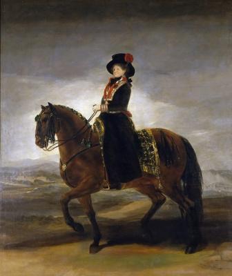 Франсиско Гойя. Королева Испании Мария Луиза верхом