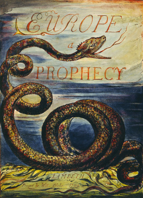 """William Blake. The cover sheet for the poem """"Europe: a prophecy"""""""