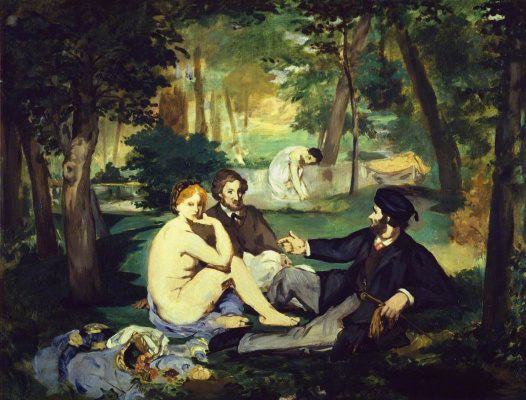 Edouard Manet. Breakfast on the grass (possibly a sketch)