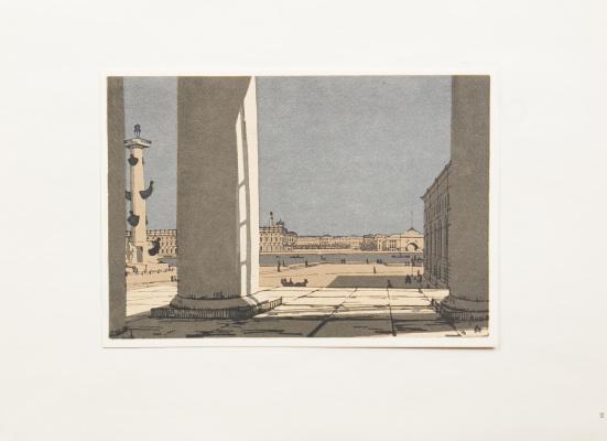 Анна Петровна Остроумова-Лебедева. Вид на Зимний дворец от колоннады Биржи. 1920-е.