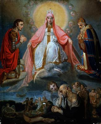 "Vladimir Borovikovsky. Mother of God ""joy of All who sorrow"" kneeling warrior and Archbishop (George and Saint Nicholas)"