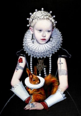 Titti Garell. Gothic Queen with a squirrel
