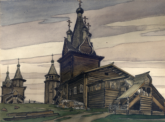 Иван Яковлевич Билибин. Деревянный храм русского Севера