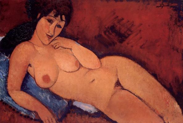 Amedeo Modigliani. Nude on a blue cushion