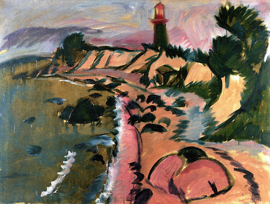Ernst Ludwig Kirchner. Shore of the island of Fehmarn lighthouse