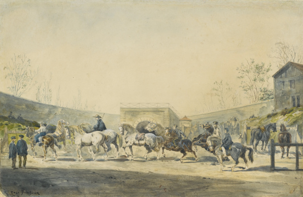 Rose Bonhur. The horse market (watercolor)
