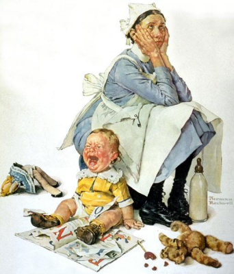 """Norman Rockwell. Hysterical. Cover of """"The Saturday Evening Post"""" (24 Oct 1936)"""